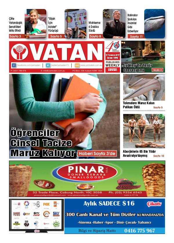 Yeni Vatan weekly Turkish Newspaper July 2017 Issue 1896