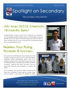 Spotlight on Secondary Newsletter 10 February 2014