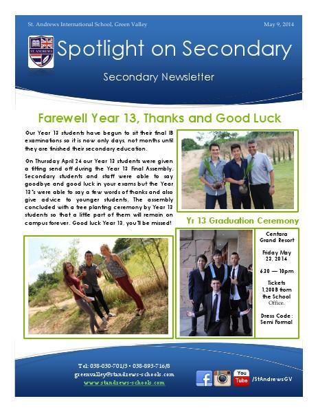 Spotlight on Secondary Newsletter May 9, 2014