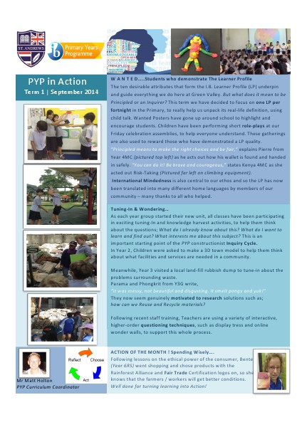 PYP in Action Newsletter Volume 2 Issue 1