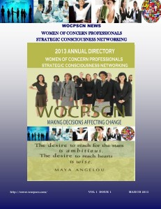Women of Concern Professionals Strategic Consciousness Networking Volume 1 Issue 1