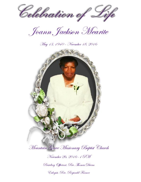 Joann Mearite's Celebration of life I