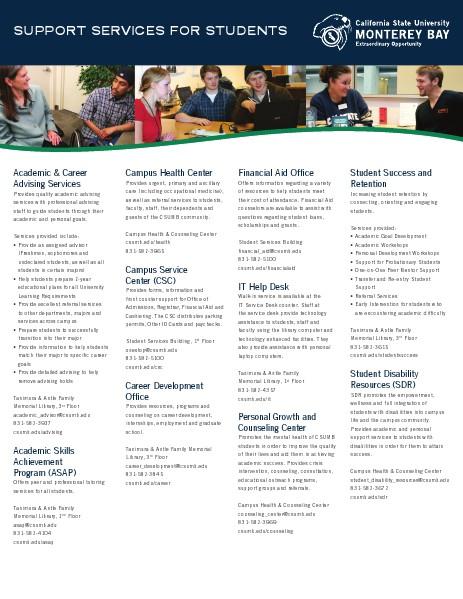 CSUMB University Communications Admissions Contact Sheet