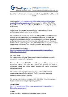 Global Torque Measurement Instruments Industry 2016 Market Research R