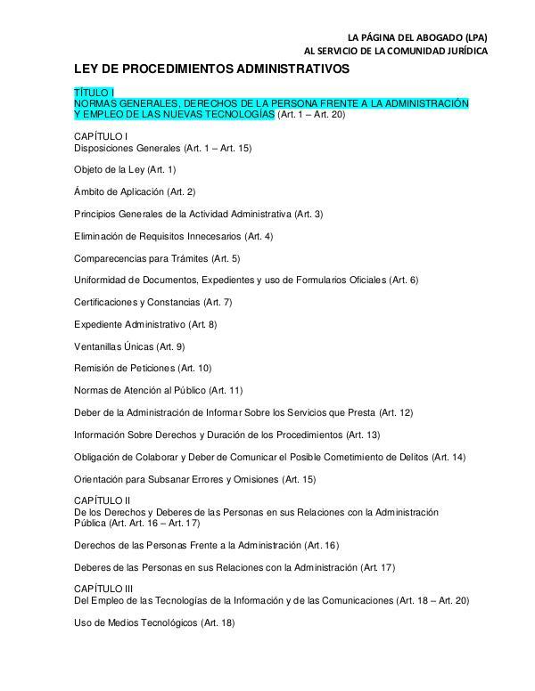LEY DE PROCEDIMIENTOS ADMINISTRATIVOS LPA