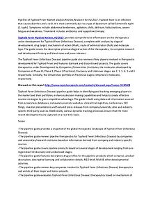 Typhoid Fever Pipeline Review, H2 2017