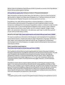 Drug Addiction Pipeline Landscape H2 2017 Market Report