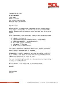 Tasco Sales - Motorola & Zebra Proposal from Barcode Datalink June 2013