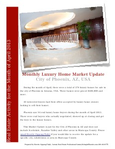 Phoenix Luxury Home and Real Estate Monthly Market Update May 2013