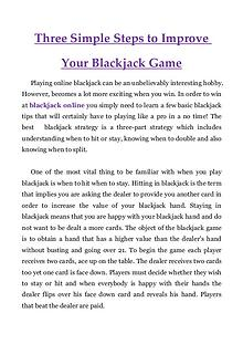 Three Simple Steps to Improve Your Blackjack Game