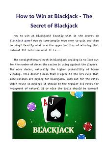 How to Win at Blackjack - The Secret of Blackjack