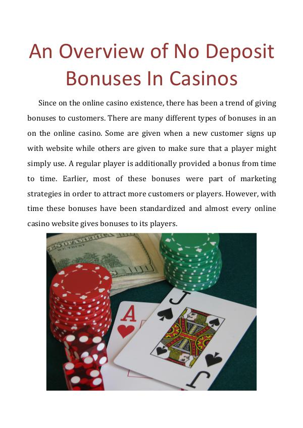 An Overview of No Deposit Bonuses In Casinos An Overview of No Deposit Bonuses In Casinos
