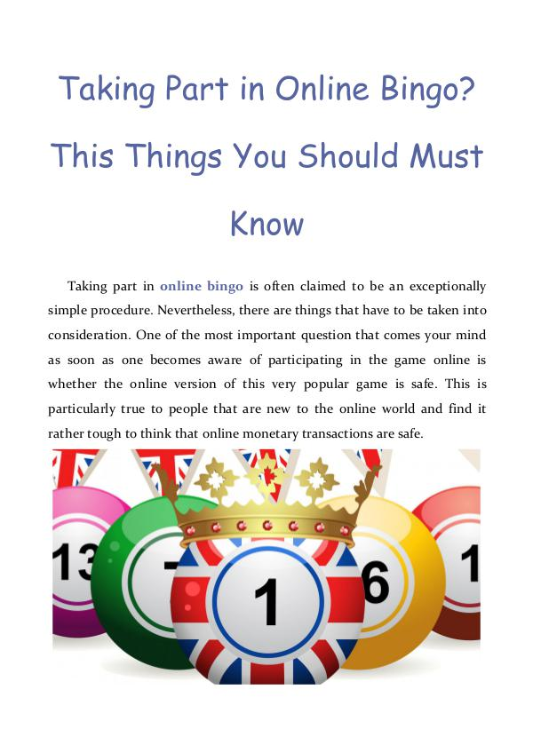 Taking Part in Online Bingo? This Things You Should Must Know Taking Part in Online Bingo? This Things You Shoul