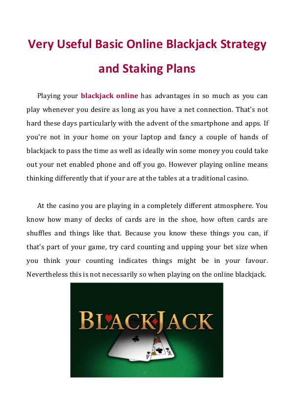 Very Useful Basic Online Blackjack Strategy and Staking Plans Very Useful Basic Online Blackjack Strategy and St