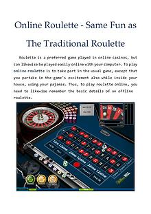 Online Roulette - Same Fun as The Traditional Roulette