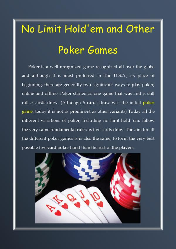 No Limit Hold'em and Other Poker Games No Limit Hold'em and Other Poker Games