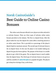 Best Guide to Online Casino Bonuses