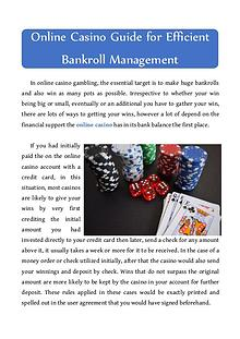 Online Casino Guide for Efficient Bankroll Management