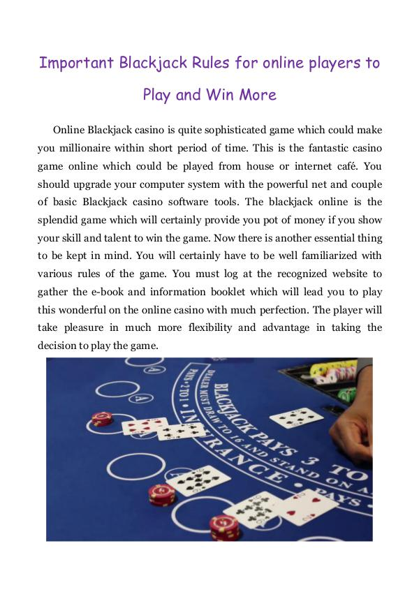 Important Blackjack Rules for online players to Play and Win More Important Blackjack Rules for online players to Pl