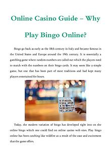 Online Casino Guide - Why Play Bingo Online?