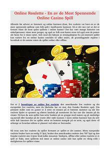 Online Roulette - En av de Mest Spennende Online Casino Spill