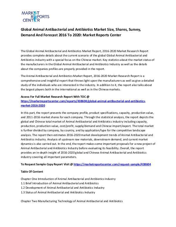 Emerging Research Reports Global Animal Antibacterial and Antibiotics Market