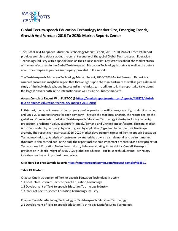 Global Text-to-speech Education Technology Market