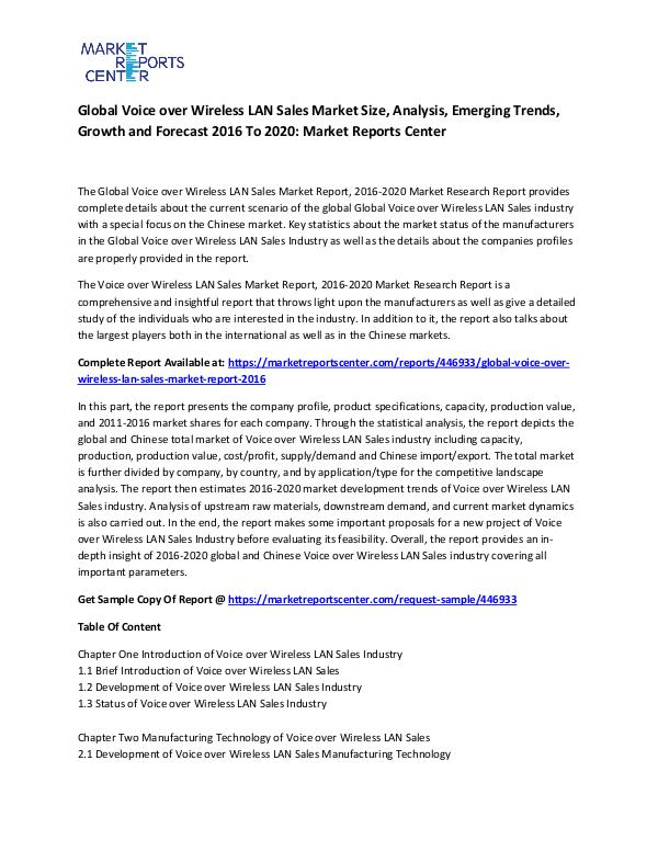 Emerging Research Reports Global Voice over Wireless LAN Sales Market