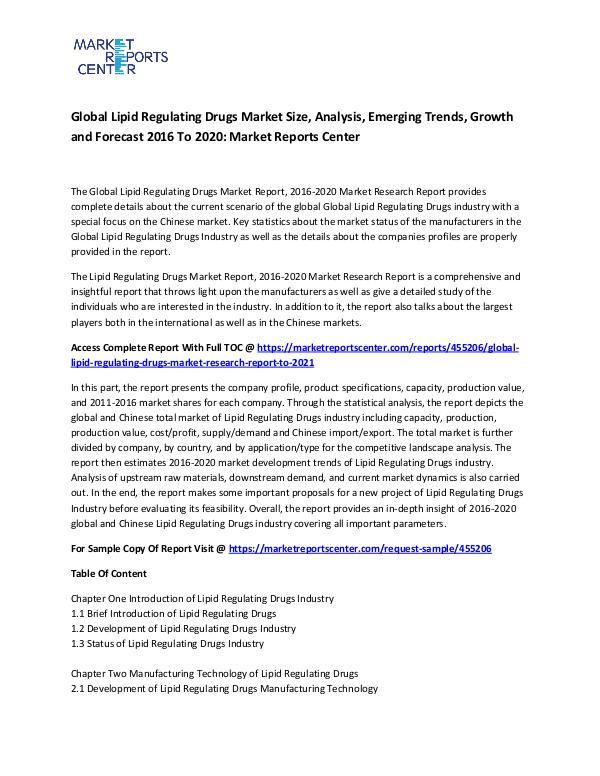 Global Lipid Regulating Drugs Market