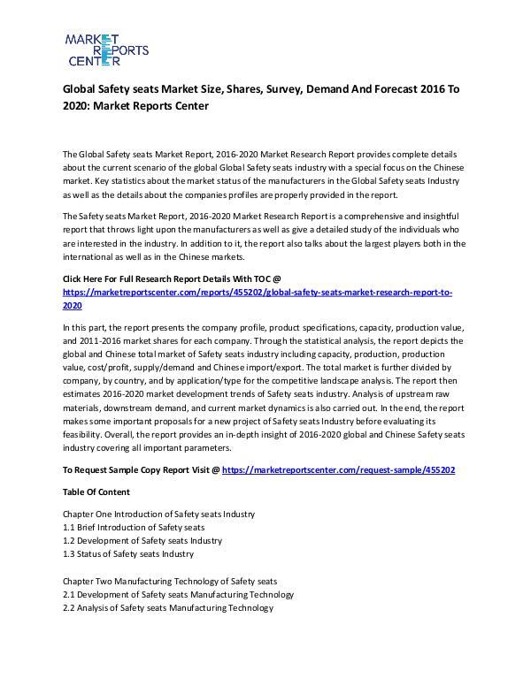 Global Safety seats Market