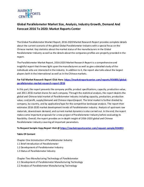 Global Parallelometer Market
