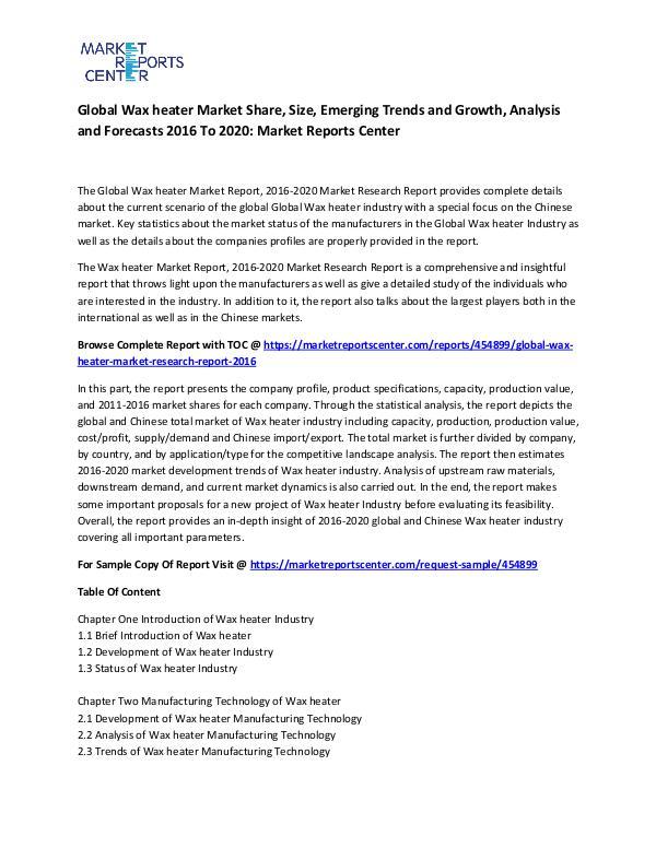 Global Wax heater Market