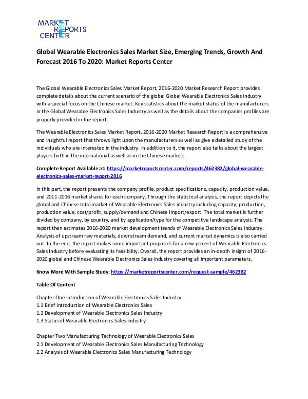Global Wearable Electronics Sales Market