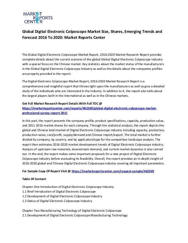 Global Digital Electronic Colposcope Market