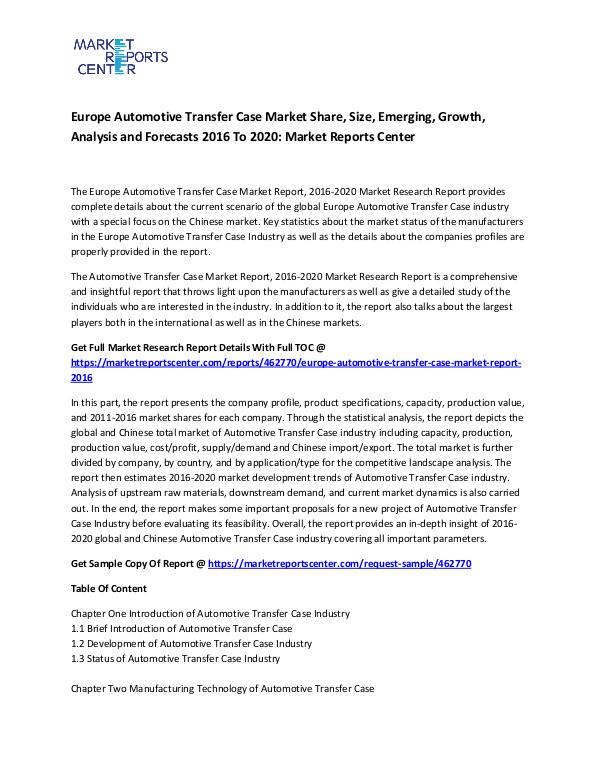 Europe Automotive Transfer Case Market