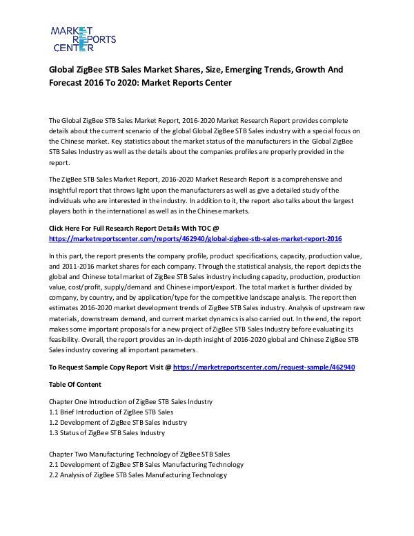 Global ZigBee STB Sales Market