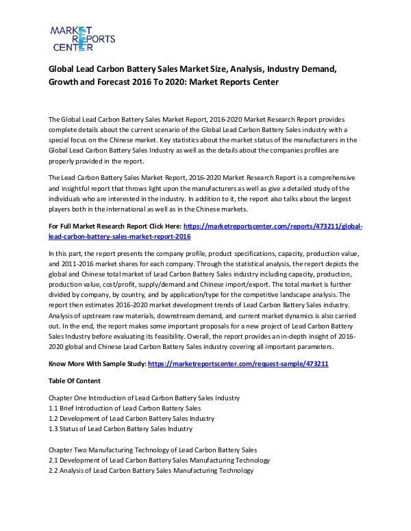 Global Lead Carbon Battery Sales Market