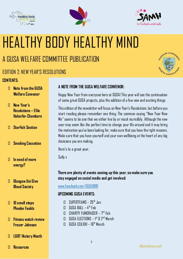 Healthy Body Healthy Mind Newsletter