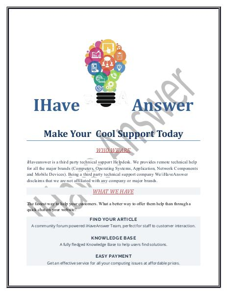 iHaveAnswer Your Responsive Helpdesk