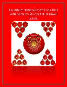 Beautifully Handmade Om Pooja Thali With Attractive 26 Diye Set for D