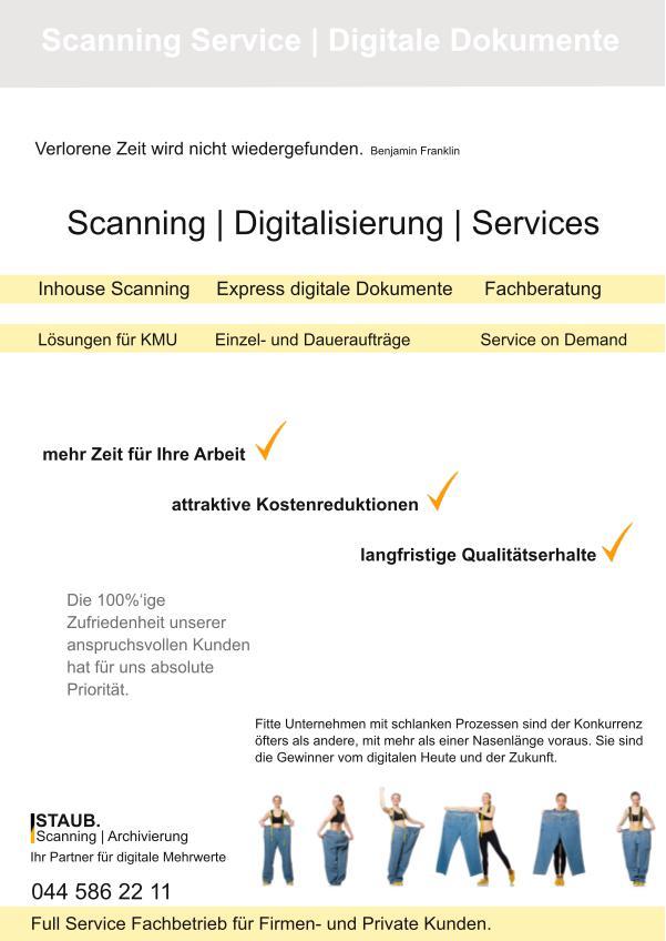 Broschüre Dokument Scanning Service Zuerich