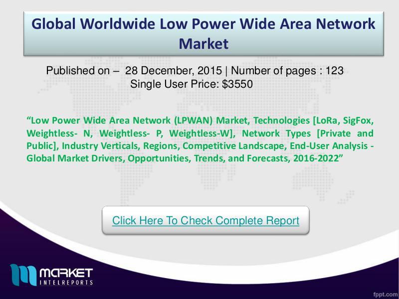 Global LOW POWER WIDE AREA NETWORK   Market 2016 Global LOW POWER WIDE AREA NETWORK   Market - By E