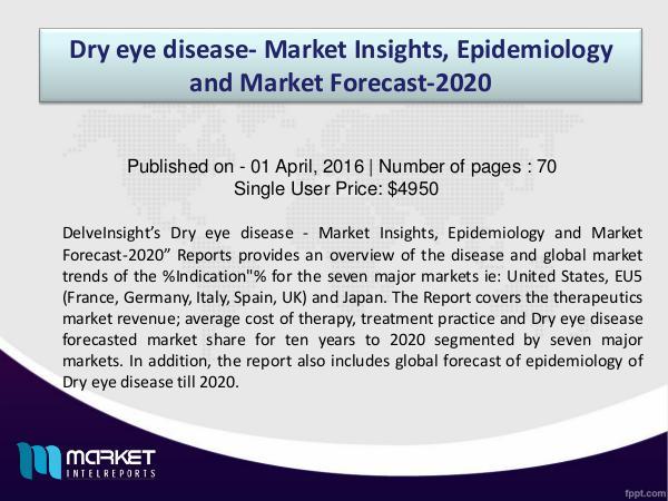 2020 Growth opportunities on Dry eye disease - Market Dry eye disease Market Analysis to 2020