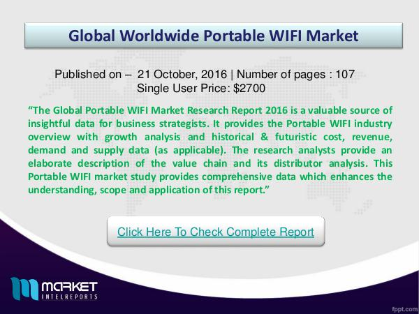 Portable WIFI Market Research Report Key Factors for Global Portable WIFI Growth 2016