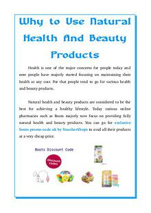 Why to Use Natural Health And Beauty Products?
