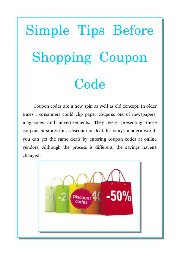 Simple tips before shopping coupon code Simple tips before shopping coupon code
