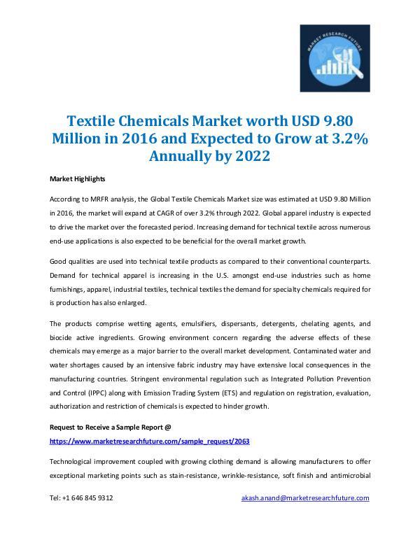 Market Research Future - Premium Research Reports Textile Chemical Market 2022