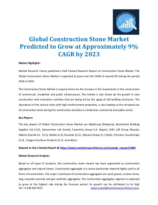 Market Research Future - Premium Research Reports Construction Stone Market 2016-2023