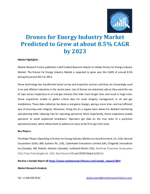Market Research Future - Premium Research Reports Drones for Energy Industry Market 2017-2023
