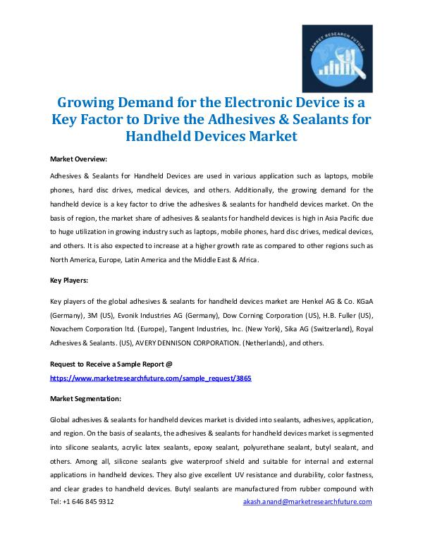 Market Research Future - Premium Research Reports Adhesives & Sealants for Handheld Devices Market